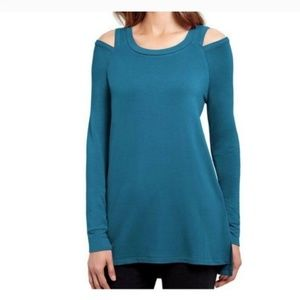 Reaction KC Cold Shoulder Teal Sweater L